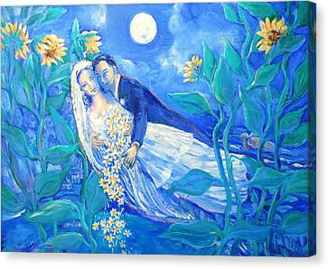 Lovers And Sunflowers  After Marc Chagall  Canvas Print by Trudi Doyle