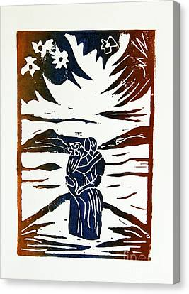 Lovers - Lino Cut A La Gauguin Canvas Print by Christiane Schulze Art And Photography