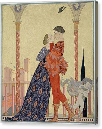 Lovers On A Balcony  Canvas Print by Georges Barbier