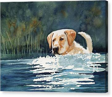 Loves The Water Canvas Print by Marilyn Jacobson