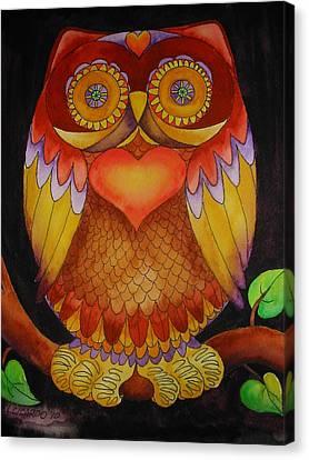 Loving Owl Canvas Print by Lou Cicardo