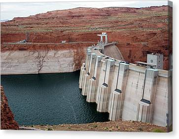 Low Water Levels In Lake Powell Canvas Print by Jim West