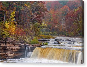 Lower Cataract Falls On Mill Creek Canvas Print by Chuck Haney