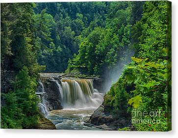 Lower Falls At Letchworth Canvas Print by Steve Clough