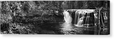 Lower Lewis River Waterfall Panorama - Black And White Canvas Print by Mark Kiver