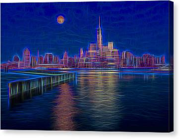 Lower New York City Glow Canvas Print by Susan Candelario