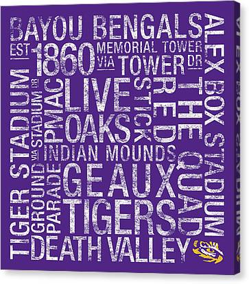 Lsu College Colors Subway Art Canvas Print by Replay Photos