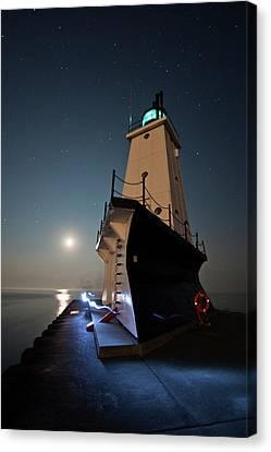 Ludington North Breakwater Lighthouse Canvas Print by Adam Romanowicz