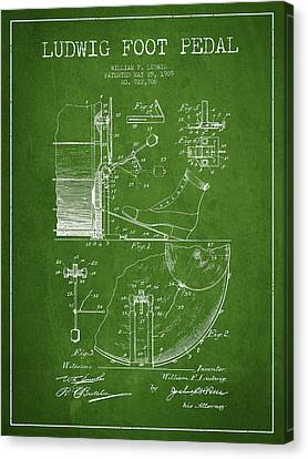 Ludwig Foot Pedal Patent Drawing From 1909 - Green Canvas Print by Aged Pixel