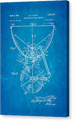 Ludwig Kettle Drum And Timpani Patent Art 1950 Blueprint Canvas Print by Ian Monk