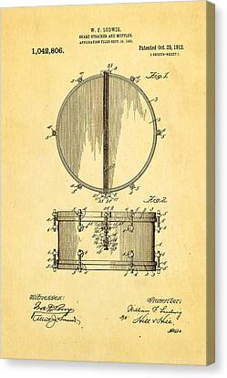 Ludwig Snare Drum Patent Art 1912 Canvas Print by Ian Monk
