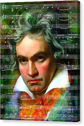 Ludwig Van Beethoven 20140122v2 Dark Canvas Print by Wingsdomain Art and Photography
