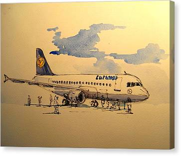 Lufthansa Plane Canvas Print by Juan  Bosco