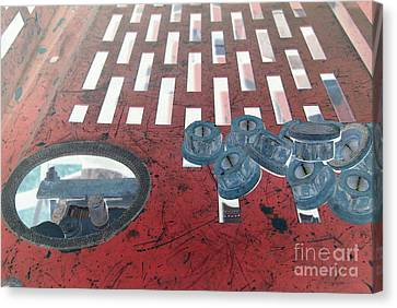 Lug Nuts On Grate And Circle H Canvas Print by Heather Kirk