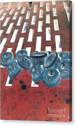 Lug Nuts On Grate Vertical Canvas Print by Heather Kirk