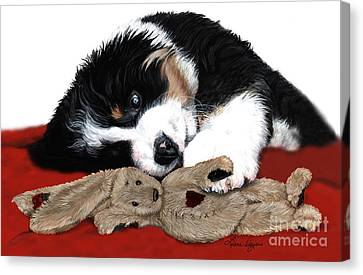 Lullaby Berner And Bunny Canvas Print by Liane Weyers