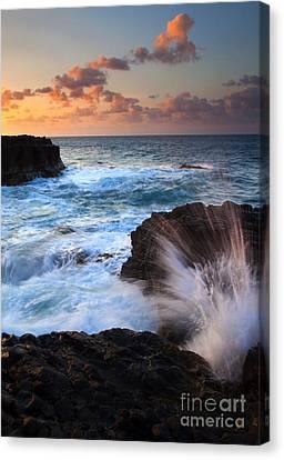 Lumahai Sea Explosion Canvas Print by Mike  Dawson