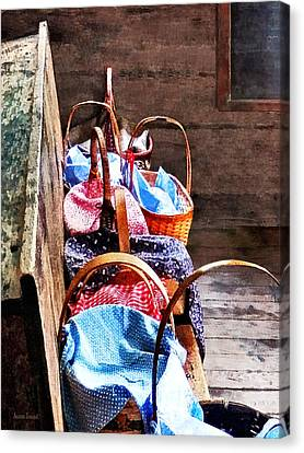 Lunch Baskets In One Room Schoolhouse Canvas Print by Susan Savad