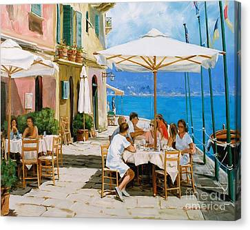 Lunch In Portofino Canvas Print by Michael Swanson