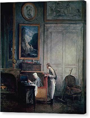 Lunch Of Madame Geoffrin Oil On Canvas Canvas Print by Hubert Robert