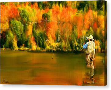 Lure Of Fly Fishing Canvas Print by Lourry Legarde