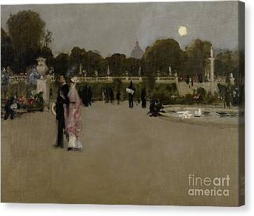 Luxembourg Gardens At Twilight Canvas Print by John Singer Sargent