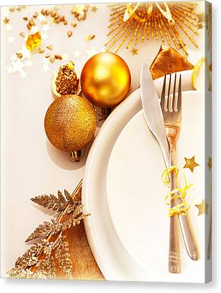 Luxury Christmas Table Setting Canvas Print by Anna Omelchenko