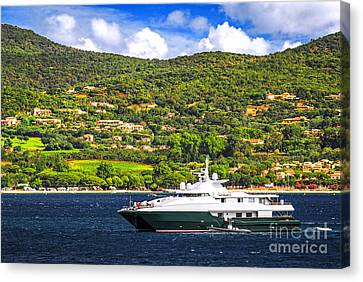 Luxury Yacht At The Coast Of French Riviera Canvas Print by Elena Elisseeva