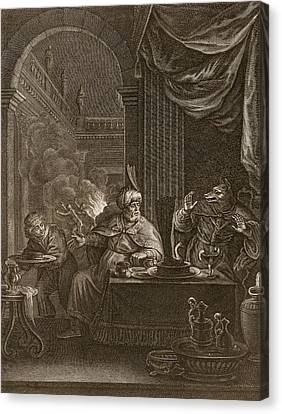 Lycaon Metamorphosed Into A Wolf, 1731 Canvas Print by Bernard Picart