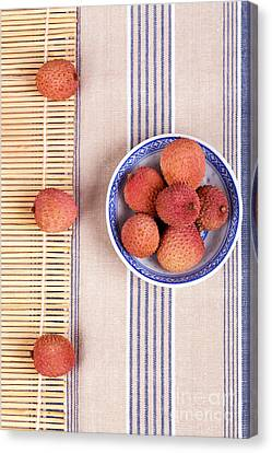 Lychess With Bamboo Mat Canvas Print by Jane Rix
