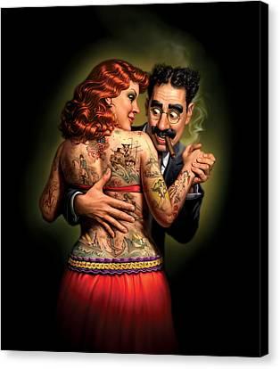 Lydia The Tattooed Lady Canvas Print by Mark Fredrickson