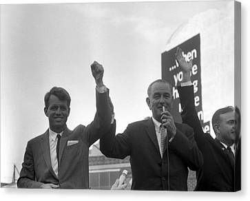 Lyndon Johnson With Robert Kennedy Canvas Print by War Is Hell Store