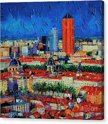 Lyon View From Jardins Des Curiosites  Canvas Print by Mona Edulesco
