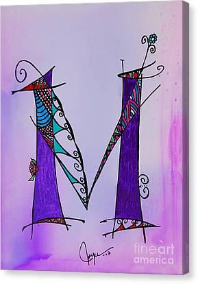 'm' Monogram Canvas Print by Joyce Auteri