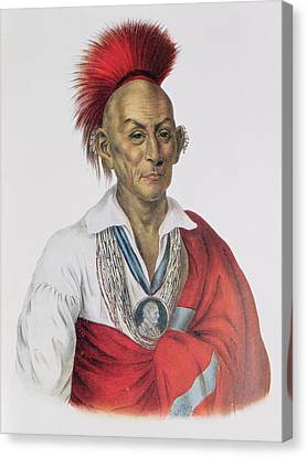 Ma-ka-tai-me-she-kia-kiah Or Black Hawk, A Sauk Brave, 1837, Illustration From The Indian Tribes Canvas Print by Charles Bird King