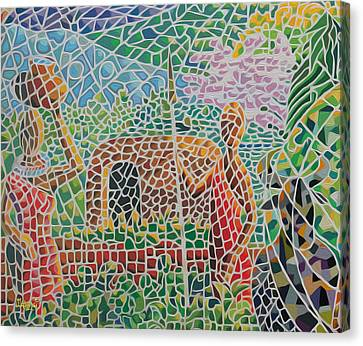 Maasai Couple And Cow Canvas Print by Anthony Mwangi