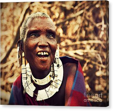Maasai Old Woman Portrait In Tanzania Canvas Print by Michal Bednarek