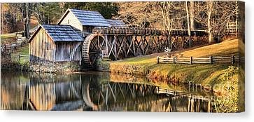 Mabry Grist Mill Fall Panorama Canvas Print by Adam Jewell