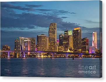 Miami As The Sun Sets Canvas Print by Rene Triay Photography