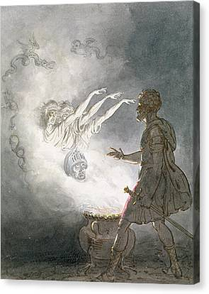 Macbeth And The Apparition Of The Armed Head, Act Iv, Scene I, From Macbeth, By William Shakespeare Canvas Print by William Marshall Craig