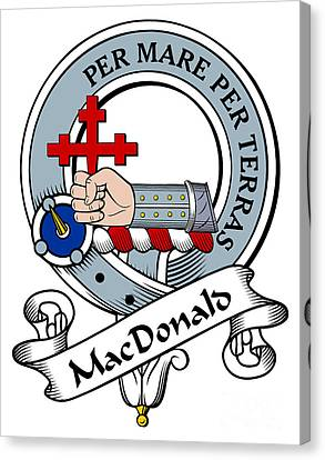 Macdonald Of Sleat Clan Badge Canvas Print by Heraldry