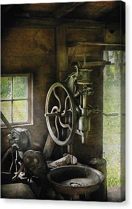 Machine Shop - An Old Drill Press Canvas Print by Mike Savad
