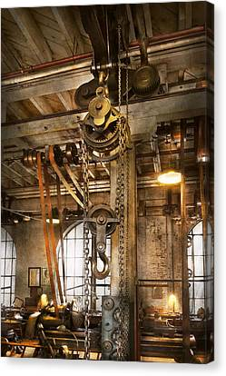 Machinist - In The Age Of Industry Canvas Print by Mike Savad