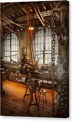 Machinist - The Crowded Workshop Canvas Print by Mike Savad