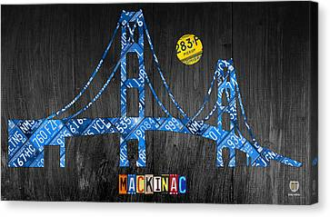 Mackinac Bridge Michigan License Plate Art Canvas Print by Design Turnpike