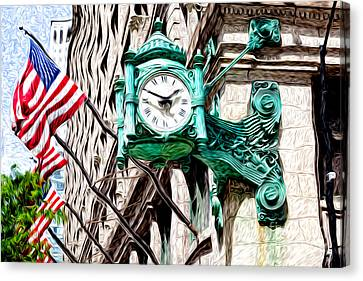 Macy's Clock In Chicago Canvas Print by Paul Velgos