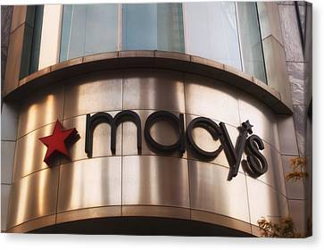 Macys Signage Canvas Print by Thomas Woolworth