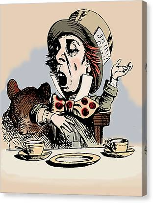 Mad Hatter Color Canvas Print by John Tenniel