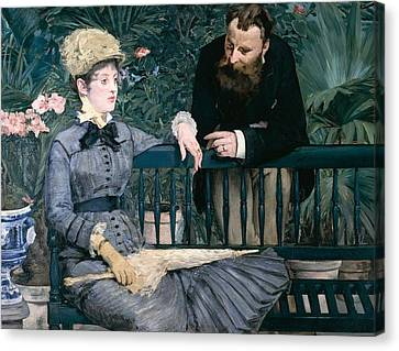 Madame Manet In Greenhouse Canvas Print by Edouard Manet
