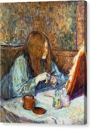 Madame Poupoule At Her Toilet Canvas Print by Henri de Toulouse-Lautrec